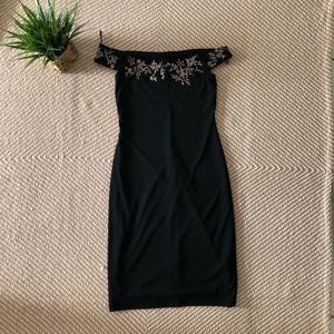LAUNDRY by Shelli Segal black dress, embroid. Sz 8